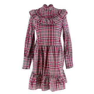 Ganni Black & Pink Gingham Checked Dress
