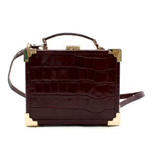 Aspinal of London Bordeaux Patent Croc Mini Trunk Clutch