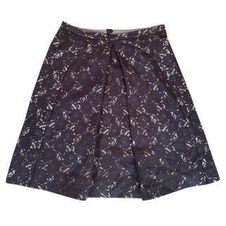 Emporio Armani black lace A-line skirt