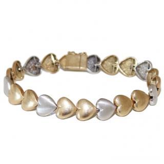 Bespoke Bubbly Hearts 14ct Yellow & White-Gold Bracelet