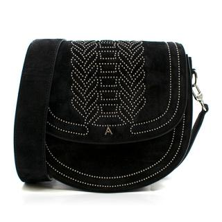 Altuzarra Medium Black Ghianda Suede Saddle Bag - New Season
