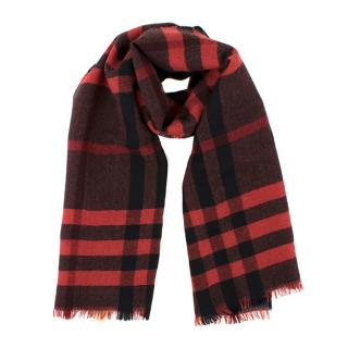 Burberry Red Checkered Wool Scarf