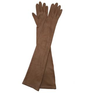 Lanvin Brown Leather Long Gloves