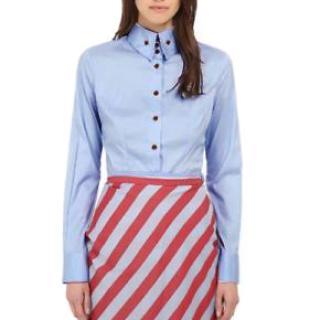 Vivienne Westwood button-collar blue poplin shirt