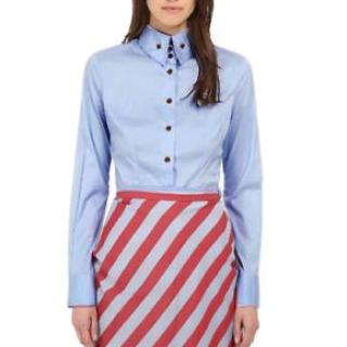 Vivienne Westwood button-collar blue poplin shirt