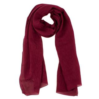 Jimmy Choo Burgundy Silk Scarf