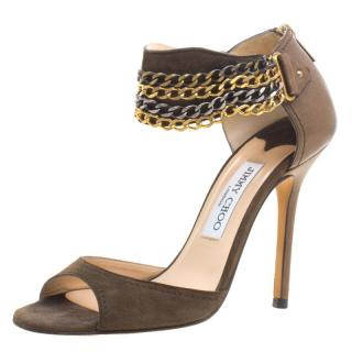 Jimmy Choo Jenna Multi-Chain Suede Sandals