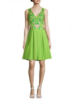 Marchesa Notte Floral-Embroidered Green A-line Dress