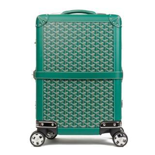 Goyard Bourget PM Green Coated Canvas Chevron Suit Case