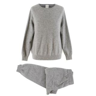 MaxMara Grey Cashmere Sweater & Track Pants Set