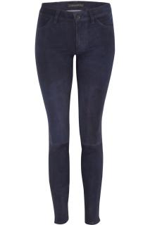 J Brand Navy Mid-Rise Suede Trousers