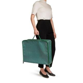 Goyard Coated Canvas Green Chevron Fold-Away Caravelle 60