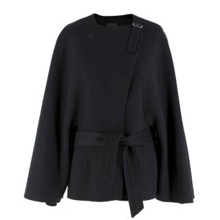 Agnona Black Double-Faced Cashmere Tie-Waist Coat/Jacket