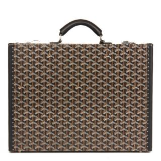 Goyard  Coated Black Chevron Canvas Mallette Manoir Briefcase