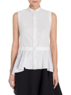 Alexander McQueen Asymmetric Sleeveless White Shirt