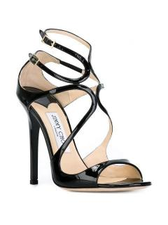 Jimmy Choo Lance 115 Black Patent Leather Sandals