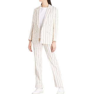 BA&SH Farah cream pinstripe cotton-linen straight leg trousers