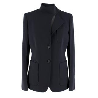 Agnona Navy Wool-blend Blazer