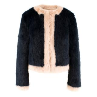 Shrimps Navy and Pink Faux Fur Coat