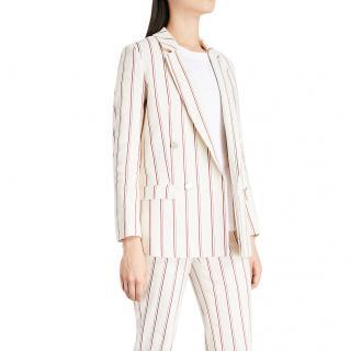 BA&SH Farah cream linen-cotton blend pinstripe double breasted blazer