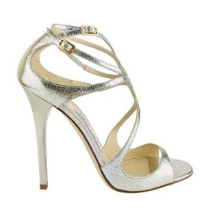 Jimmy Choo Lance Champagne Glitter-Leather Sandals