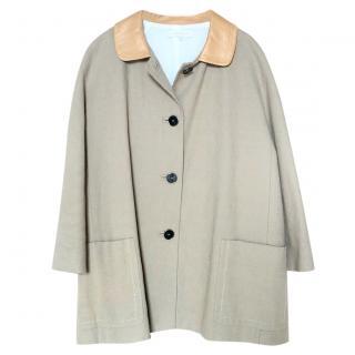 Sandro leather-collar camel coat