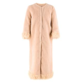 Shrimps Pink Long Faux Fur Coat