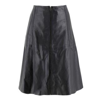Muubaa Midnight Navy Leather Skirt