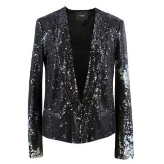 Maje Black Sequin Blazer Jacket