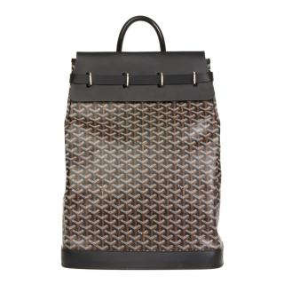 Goyard Black Chevron Coated-Canvas Steamer Bag
