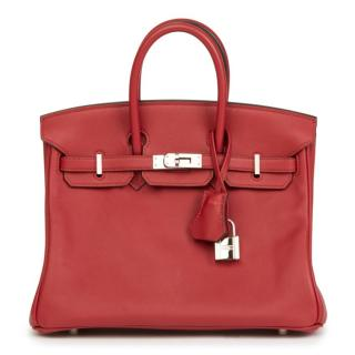 Hermes Rouge Grenat Swift Leather Birkin 25cm Bag