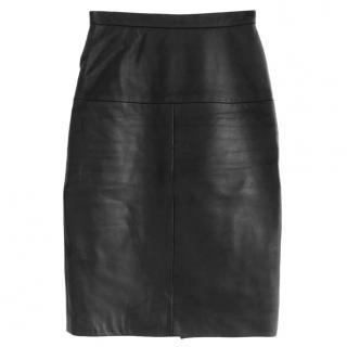 Eudon Choi button-down black leather skirt