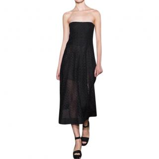 Stella McCartney Black Broderie Anglaise Strapless Midi Dress