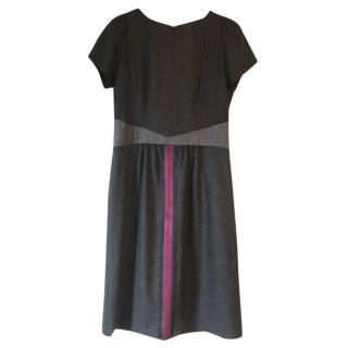 Etro grey contrast-panel silk & wool-blend dress