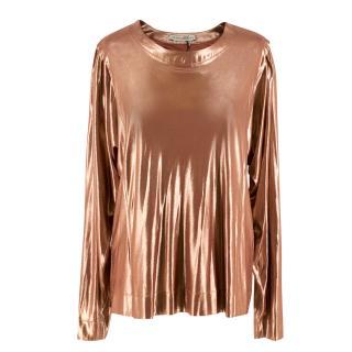 Balenciaga Long-Sleeved Copper-Lame Top