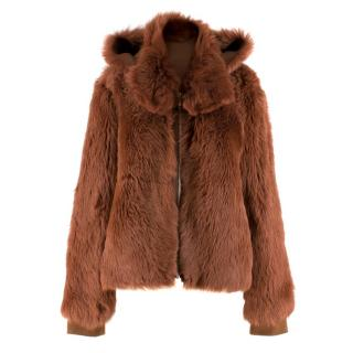Scanlan Theodore Russet Shearling Fur Hooded Jacket