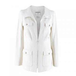 Chanel White Tweed Classic Jacket