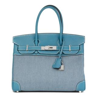 3dfb44544383 Hermes 30cm Birkin Blue Jean Clemence Leather & Denim Bag