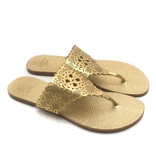 Tory Burch Roselle Metallic Gold Flat Sandals