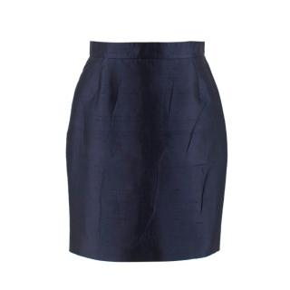 Prada Navy Silk & Cotton-Blend Noil Pencil Skirt