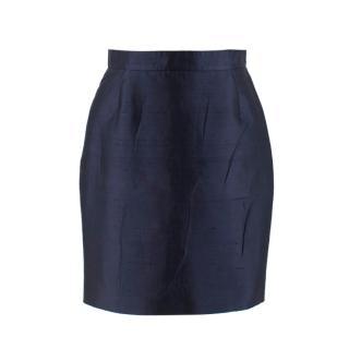 Prada Navy Silk & Cotton-Blend Noil Pencil Skirt