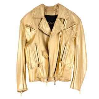 Escada Metallic Gold Leather Biker Jacket