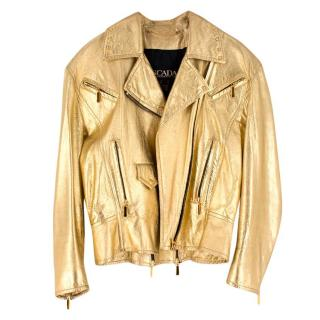 Escada Metallic Gold Leather Biker Jacket
