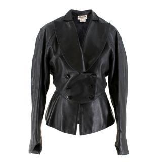Alaia Paris Vintage Black Leather Cocoon Jacket