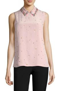 Miu Miu Embellished Pink Sleeveless Shirt