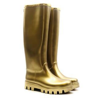 Dolce & Gabbana Gold Rubber Wellington Boots