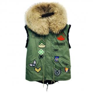 Jane & Tash Fur-Trimmed Army Gilet