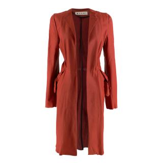 Marni Red Lightweight Leather Coat