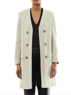 Isabel Marant Emi Collarless Coat in Natural