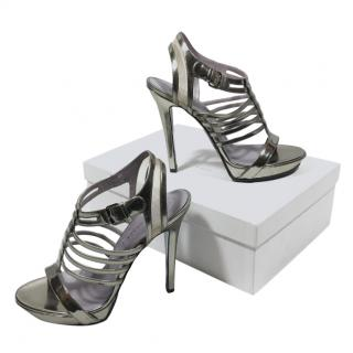 Versace Silver Patent Leather Caged Sandals